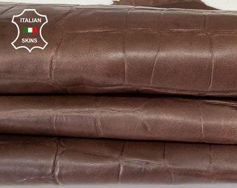 BROWN ANTIQUED CROCODILE embossed textured rustic look vegetable tan Italian goatskin goat leather skin hide 9sqf 0.8mm #A7974