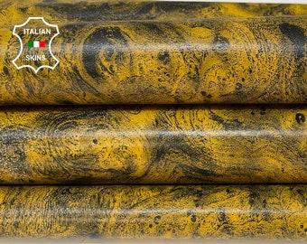 MUSTARD ANTIQUED BRUSHED distressed Italian Lambskin Lamb Sheep leather skin skins hide hides 7sqf 1.0mm #A8509