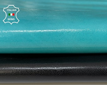 PACK 2 SKINS PATENT Black & turquoise blue Italian Goatskin Goat leather hide hides skin pack 2 skins total 10sqf 0.8mm #A8529