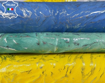 METALLIC SILVER CRINKLED distressed on yellow, green, blue natural vintage Goatskin Goat leather pack 3 skins total 12sqf 1.0-1.3mm #A8506
