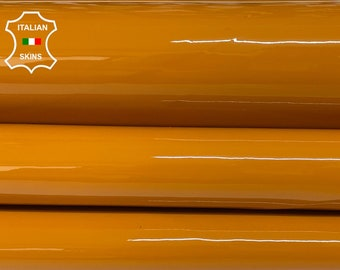 OCHRE PATENT shiny wet look Italian calfskin calf cow leather hide hides skin pack 2 skins total 7sqf 0.8mm #A8247