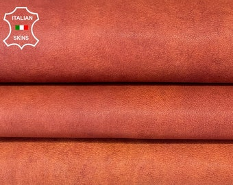 ORANGE SALMON RUSTIC antiqued vintage look vegetable tan Italian goatskin goat leather hide hides skin skins 6sqf 0.9mm #A8180
