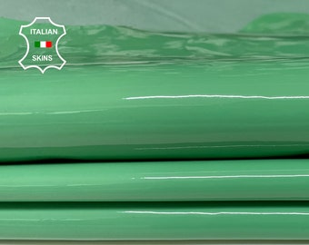 PATENT MINT GREEN wet shiny look Italian Calfskin Calf Cow cowhide genuine leather upholstery skins 11+sqf 1.0mm #P17