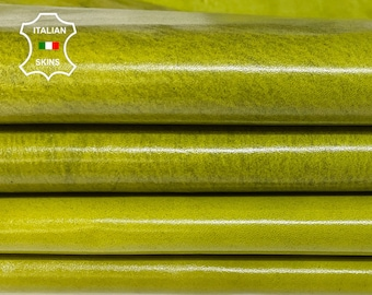 PISTACHIO GREEN SHINY antiqued distressed vintage look Italian Calfskin Calf leather 5 skins total 22sqf 1.0mm #A7622