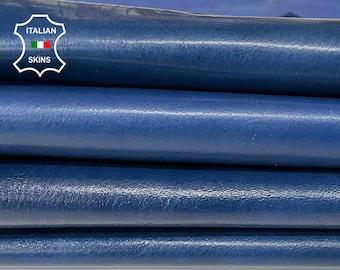 COBALT BLUE SHINY antiqued distressed vintage look Italian Calfskin Calf leather 2 skins total 11sqf 1.1mm #A7621