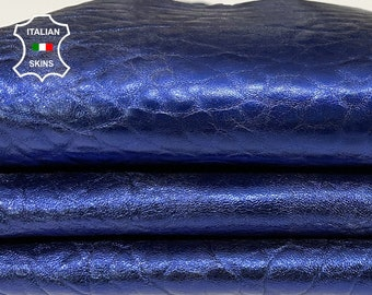 BUBBLY OCEAN BLUE metallic distressed washed grainy textured vintage thick Lambskin Lamb Sheep leather skin skins 5sqf 1.2mm #A7533