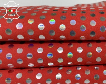 HOLOGRAPHIC SILVER POLKA Dots print on red nabuck Italian Goatskin Goat leather skin skins 3sqf 1.0mm #A7631