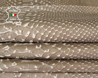 KHAKI VINTAGE LOOK snake embossed textured vegetable tan Italian lambskin sheep leather skin skins hide hides 8sqf 0.7mm #A8007
