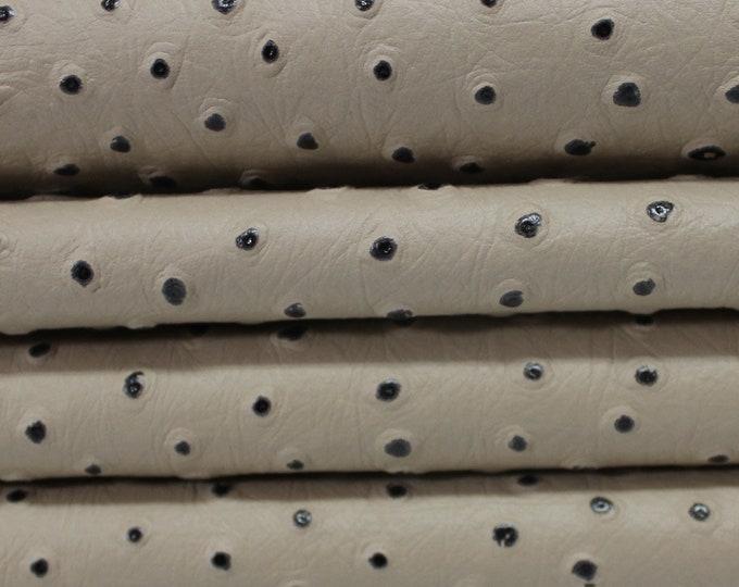 BEIGE OSTRICH EMBOSSED Italian Lamb Lambskin leather skin skins hide hides