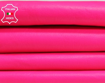 NEON PINK FLASHY smooth Italian genuine Lambskin Lamb Sheep leather skins hides 0.5mm to 1.2mm