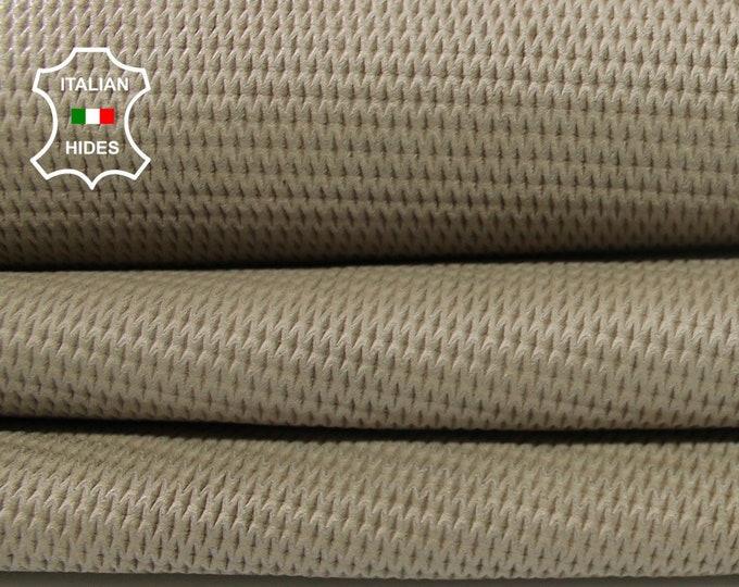NATURAL BEIGE TEXTURED natural look vegetable tan Italian Lambskin Lamb Sheep leather skin hide skins hides 5sqf 0.9mm #A4468