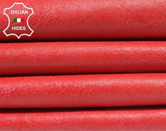 CRINKLE RASPBERRY RED Italian Lambskin Lamb Sheep leather 2 skins hides 10sqf 0.6mm #A3800