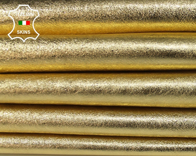 METALLIC GOLD Italian Lambskin Lamb Sheep leather skin hide skins hides fabric for sewing craft 3-4sqf 0.7mm #A6015