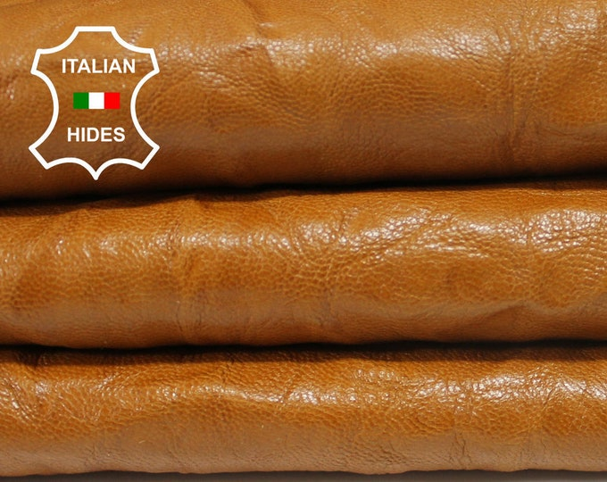TAN WRINKLED Italian thick vegetable tanned Goatskin Goat leather skin skins hide hides  1.2mm