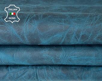 TEAL BLUE CRINKLE wrinkle antiqued rustic vegetable tan vintage look Italian goatskin goat leather pack 2 skins total 10sqf 1.1mm #A8162