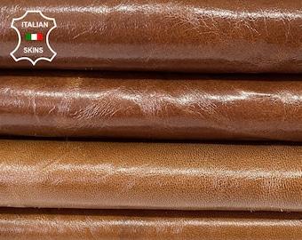 CAMEL BROWN RUSTIC shiny antiqued vegetable tan Italian goatskin goat leather hide hides skin total 2 skins 16sqf 1.0mm #A8176