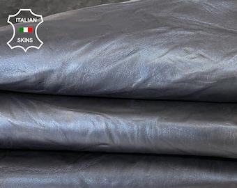 BLUE BLACK WASHED wrinkled rustic antiqued vegetable tan thick Italian goatskin goat leather skin hide 7sqf 1.5mm #A7979