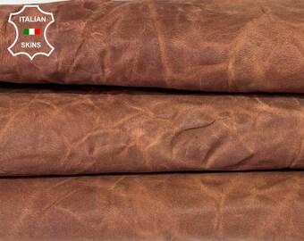 BROWN CRINKLE WRINKLE antiqued rustic vegetable tan vintage look Italian goatskin goat leather skin skins 5+sqf 1.0mm #A8165