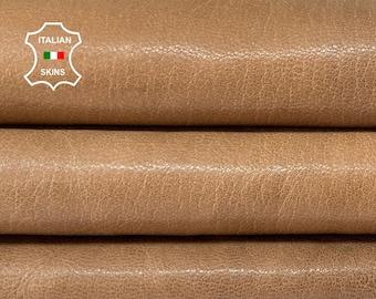 WALNUT BROWN SHINY rough  vintage look vegetable tan Italian goatskin goat leather skin skins hide hides 6+sqf 1.1mm #A8487