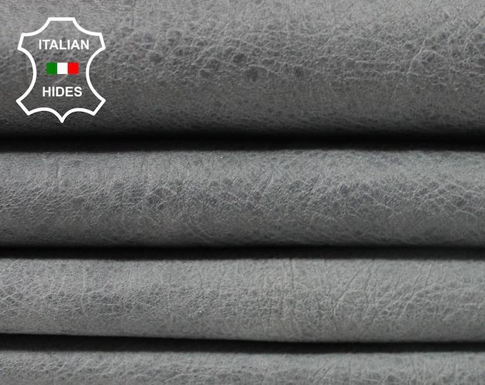 CRINKLE GREY VINTAGE look Lambskin Lamb Sheep leather 2 skins hides total 9sqf 0.6mm #A3805