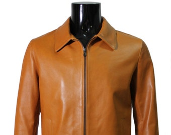 Italian handmade Men genuine lambskin leather jacket slim fit color Tan