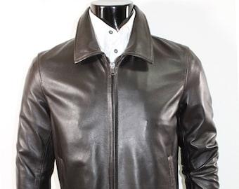 Italian handmade Men soft genuine lambskin Bomber leather jacket color Dark Brown