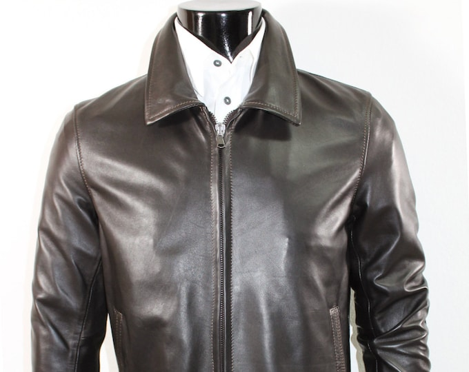 Italian handmade Men soft genuine lambskin Bomber leather jacket color Dark Brown