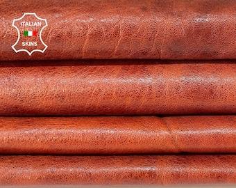 COGNAC SHINY antiqued vegetable tan soft Italian goatskin goat leather skin skins hide hides 8sqf 0.9mm #A8444