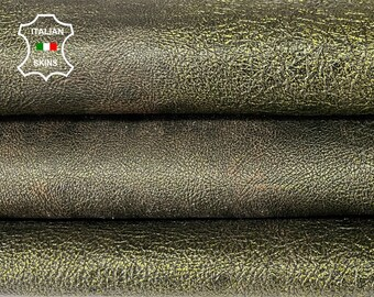 METALLIC OLIVE GREEN crispy antiqued crinkled vegetable tan Italian lambskin sheep leather skin skins hide hides 8sqf 1.1mm #A8054