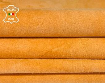ORANGE PEACH SUEDE soft Italian goatskin goat leather hide hides skin pack 2 skins total 7sqf 0.6mm #A8173