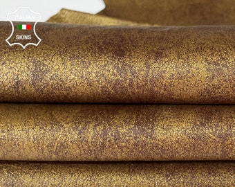 METALLIC BRASS OLD gold distressed vintage look rough  soft Italian lambskin sheep leather skin skins hide hides 6sqf 1.0mm #A8041