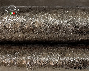 METALLIC DARK PEWTER crispy crinkled rough Goatskin Goat leather skin hide skins hides 6sqf 1.0mm #A7591