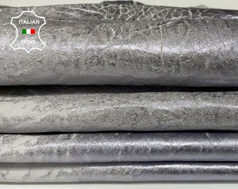 VINTAGE METALLIC SILVER blue hue bubbly grainy vegetable tanned Italian Lambskin Lamb sheep leather 2 hides total 9sqf 1.4mm #A7697