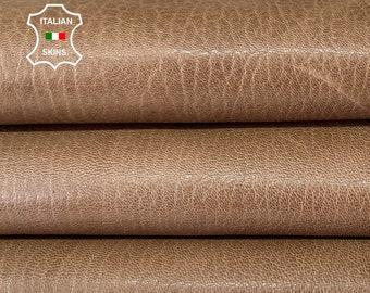 NATURAL WALNUT BROWN shiny rough  vegetable tan Italian goatskin goat leather hide hides skin skins 6+sqf 1.1mm #A8183