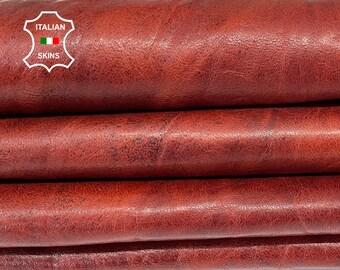 BROWN COGNAC RUSTIC antiqued vegetable tan Italian goatskin goat leather hide hides skin skins 8sqf 1.0mm #A8175