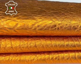 BUBBLY METALLIC ORANGE thick soft Italian lambskin sheep leather skin skins hide hides 4sqf 1.4mm #A8039