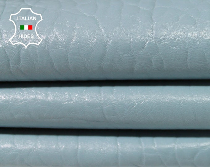 NATURAL BLUE GRAINY baby light sky blue bubbles thick vegetable tan Italian Lambskin leather for sewing 2 skins total 12sqf 1.4mm #A4818
