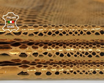 METALLIC OLD GOLD Snake print on sand texture Italian textured Goatskin leather material for sewing crafts skin skins 2+sqf 0.7mm #A6944