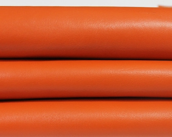 ORANGE Italian genuine Lambskin Lamb Sheep leather skins hides 0.5mm to 1.2mm