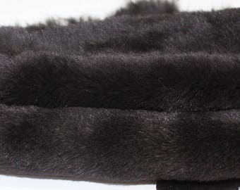 DARK BROWN sheepskin hair on shearling fur sheep Italian leather skin skins hide hides 3sqf #M010