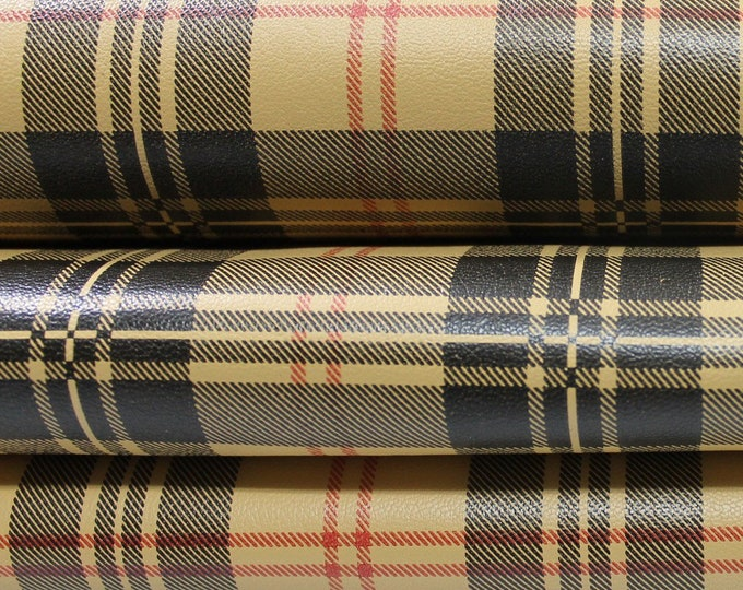 PLAID & BLACK Double Face print Italian genuine Lambskin Lamb Sheep leather material for sewing 8sqf 1.1mm #C1-26