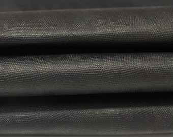 BLACK REPTILE EMBOSSED genuine Italian Goatskin Goat leather 4 skins hides total 28sqf 0.6mm #GA28