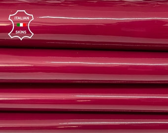 RED WINE BORDEAUX patent shiny wet look thick Italian calfskin calf cow leather hide hides skin pack 2 skins total 10sqf 1.0mm #A8192