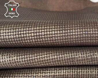 METALLIC ANTIQUED BRONZE distressed textured on brown vintage look veg tan lambskin Italian leather pack 3 skins total 15sqf 1.0mm #A8035