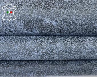 BLUE ANTIQUED DISTRESSED greyish stonewash vintage look Italian lambskin lamb sheep leather skin hide skins hides 6+sqf 0.9mm #A8284