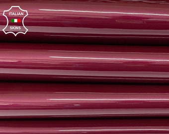 WINE RED PEARLIZED patent shiny wet look Italian calfskin calf cow strong leather hide hides skin pack 2 skins total 6sqf 1.1mm #A8256