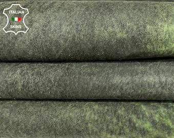 GREEN NUBUCK ANTIQUED distressed vintage look vegetable tan Italian lambskin lamb sheep leather skin skins hide hides 8sqf 0.9mm #A8424