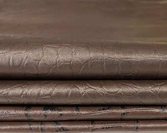 BROWN CROCODILE 2 shades textured embossed soft lambskin lamb leather 2 skins hides total 15sqf 0.5mm #A7607