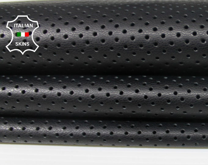 BLACK PINHOLES PERFORATED Italian lambskin leather 12 skins hides total 80-90sqf