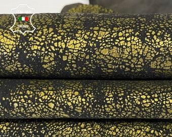 METALLIC BRASS BRONZE Distressed stonewash vintage look crackled soft Italian Lambskin Lamb Sheep leather skin skins 4sqf 0.7mm #A7639